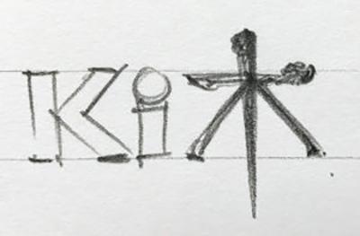 Early logo design sketches for Ki Agency