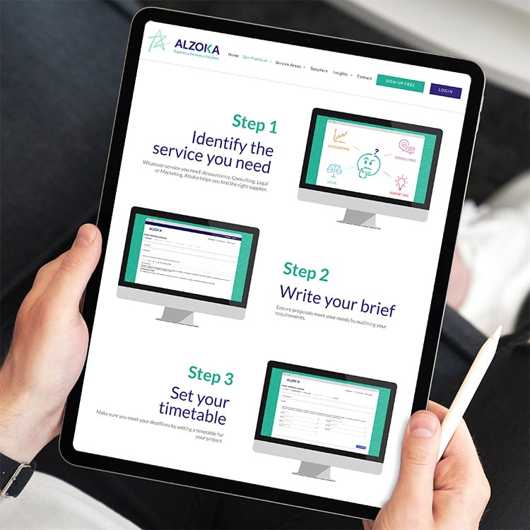 Man holding iPad browsing through the new website design for Alzoka