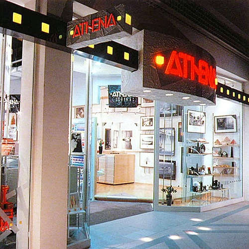Shopfront design with a projecting sign showing the Athena branding Thumbnail