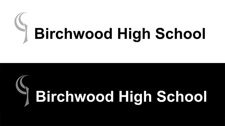 New logo and reversed version of the Birchwood High School branding design