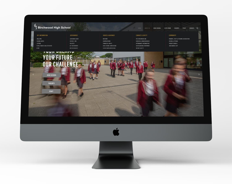 Homepage of Birchwood High School website displayed on desktop