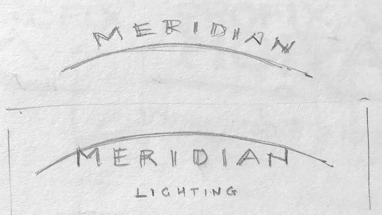 Sketches of CED sub-brand 'Merdian Lighting' logo design