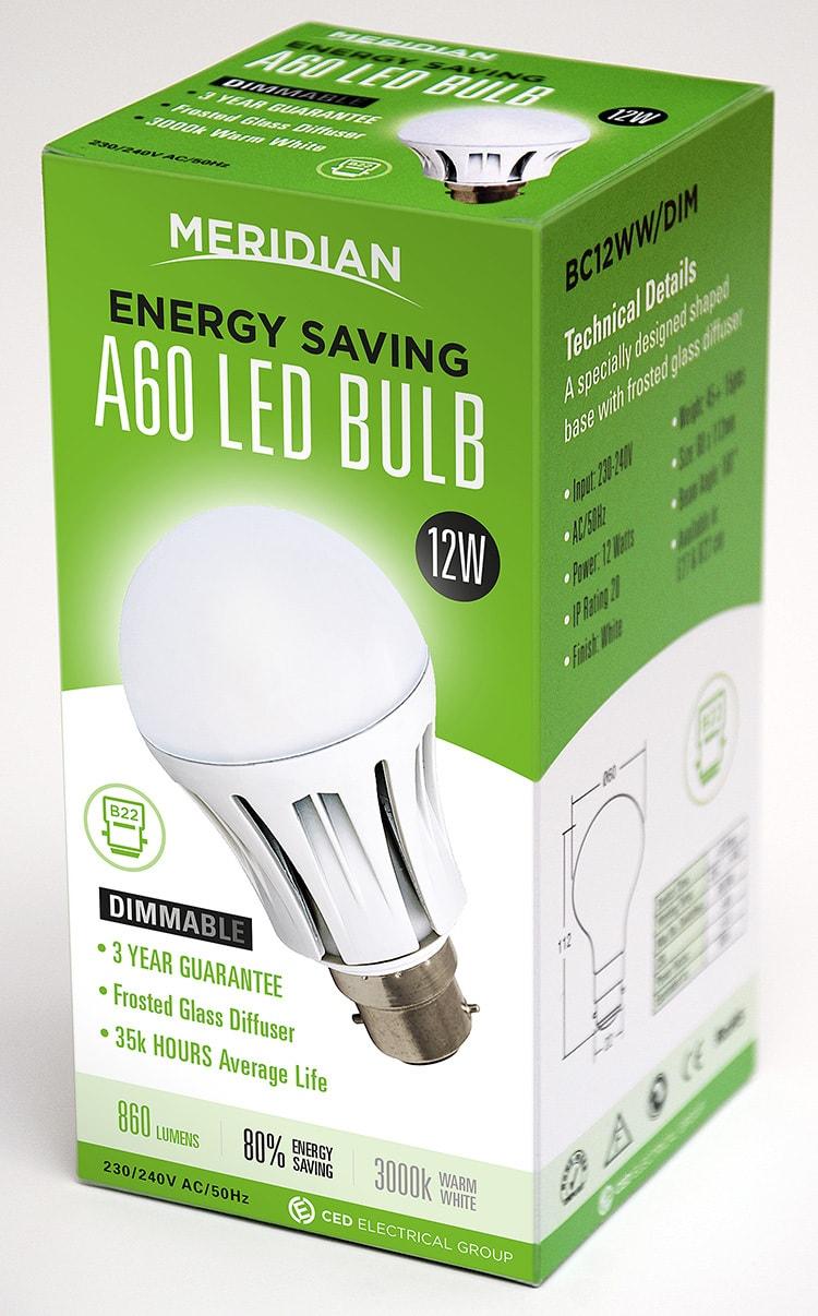 Merdian Lighting product packaging design for A60 LED Bulb