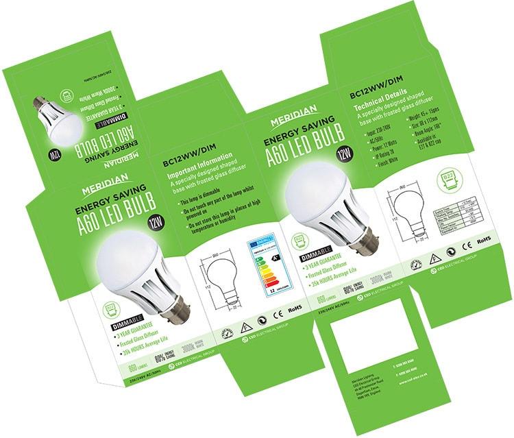 Merdian Lighting A60 LED Bulb product packaging design net artwork
