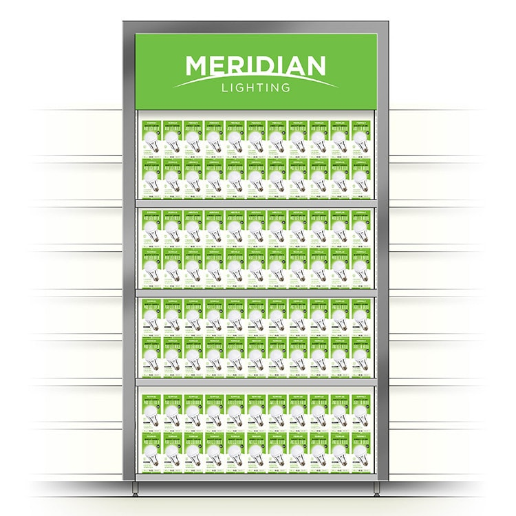Display shelf mockup with Meridian Lighting logo and new packaging design for A60 bulb on shelves