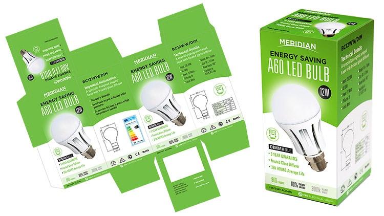 Merdian Lighting A60 LED Bulb packaging design net artwork alongside 3D product carton