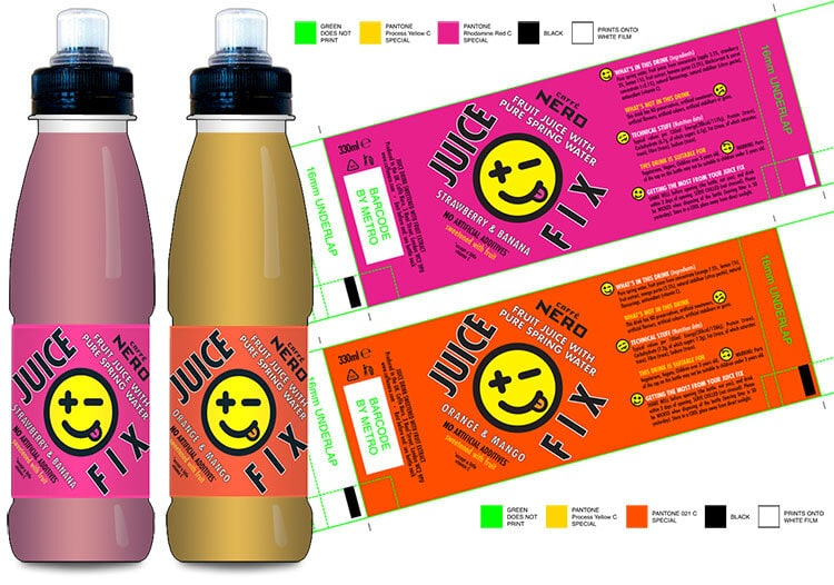 Juice Fix packaging design with labels and 3D mockup for Caffè Nero