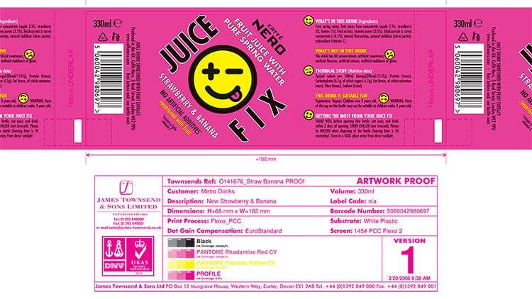 Strawberry and Banana Juice Fix labels design for Caffè Nero