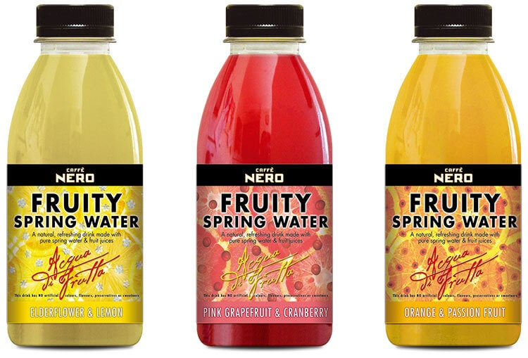 Fruity spring water drink lineup label design for Caffe Nero