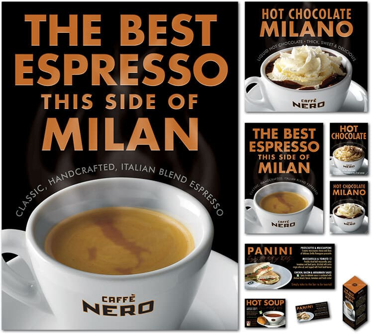 Caffè Nero Espresso promotion showing a digitally retouched map of Italy swirling in the froth of the Espresso in the cup