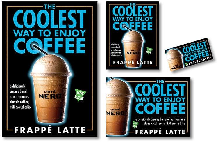 Iced Frappè Latte coffee promotion design for Caffè Nero
