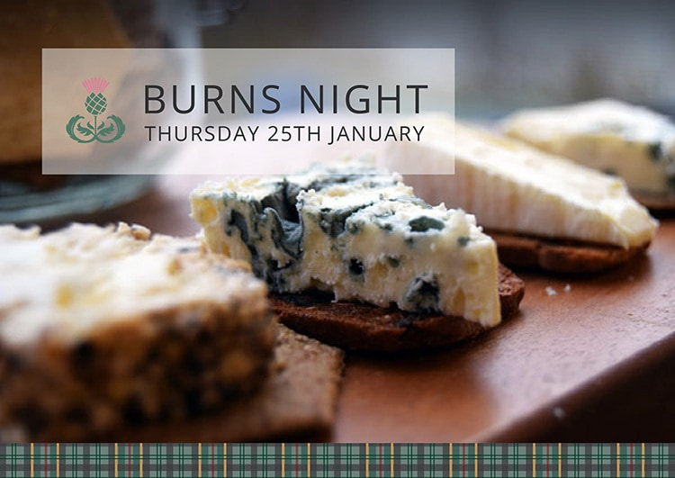 Tartan Cheese Burns night invite with repeat pattern band on bottom