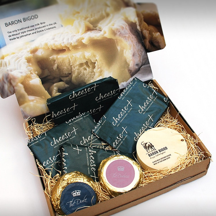 Close up of Cheese Plus branded Packaging Design featuring full-bleed imagery and hi-res lifestyle photography
