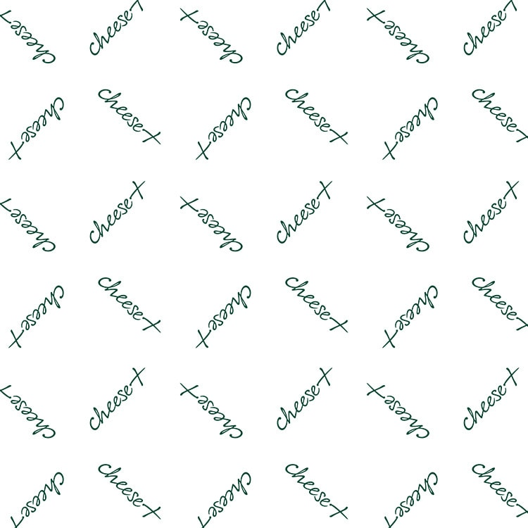 Repeat pattern of Cheese Plus logo wrapping paper