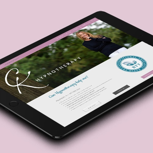 Tablet displaying Clare King responsive website design with image of woman under a tree Thumbnail
