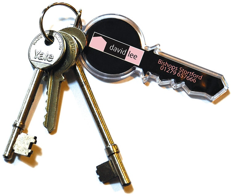 Keys with David Lee Estates Branding and contact details