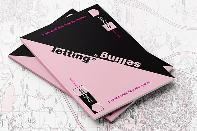 Final David Lee Estates brochure design stacked ontop of David Lee Estates branded map