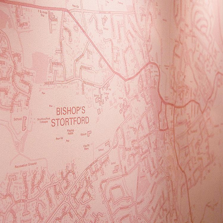 Close up of Pink map design focusing on Bishop's Stortford