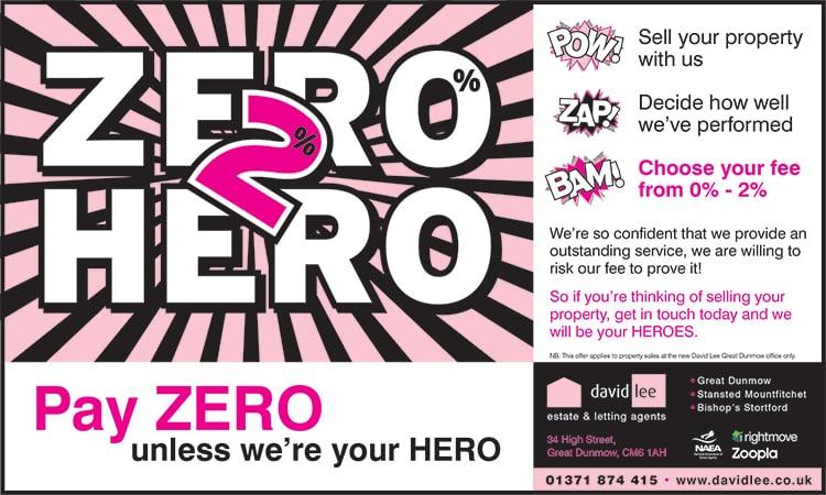 Half page advert design promoting 'Zero 2 Hero' for David Lee Estates