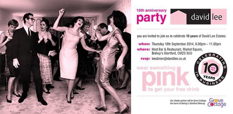 10th Anniversary party invite promotion design for David Lee Estate