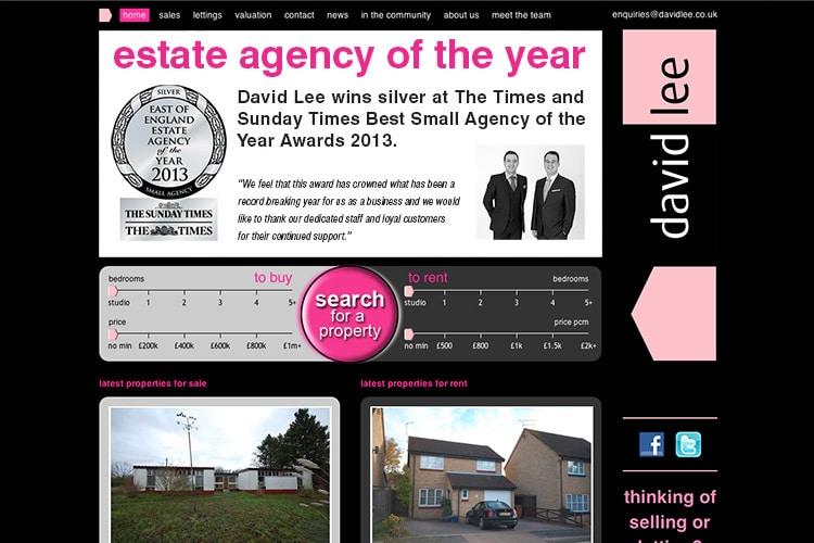 David Lee Estate website homepage design