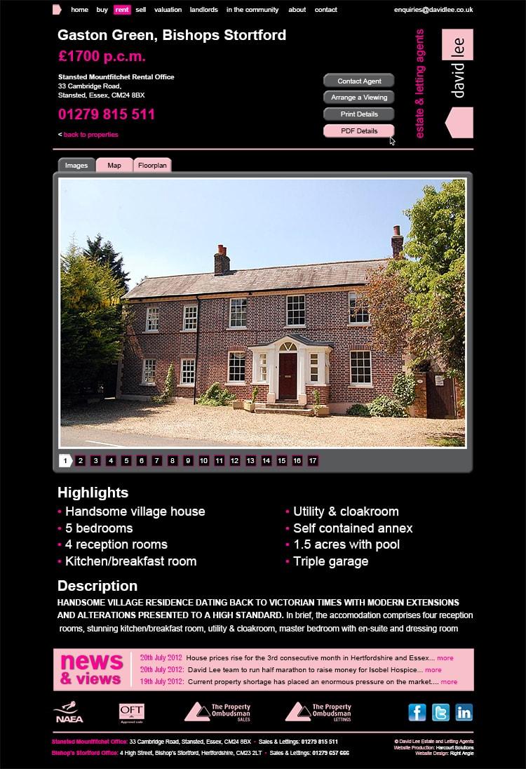 David Lee Estate website landing page design showing details of house for sale black background