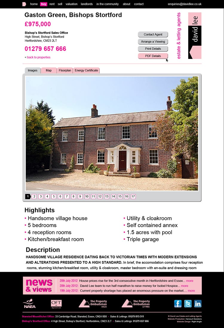 David Lee Estate website landing page design showing details of house for sale white background