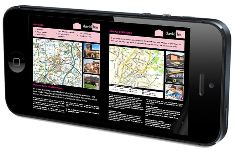 Mobile displaying David Lee Estates responsive website in landscape view