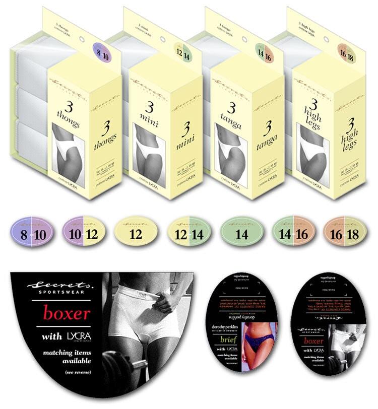 Dorothy Perkins packaging design for women briefs