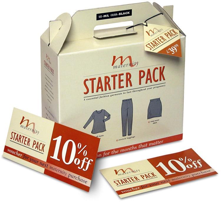 Close up of maternity starter pack packaging design for Dorothy Perkins