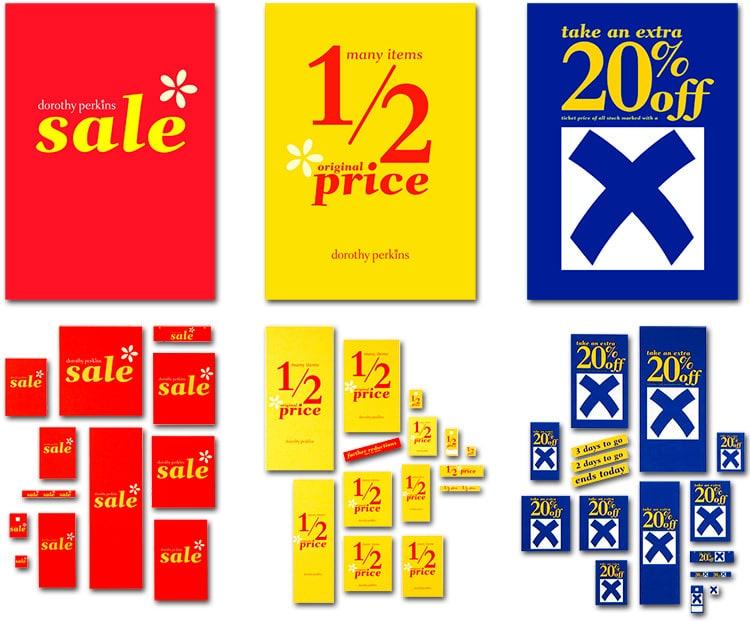 Dorothy Perkins Blue X Sale promotional design materials