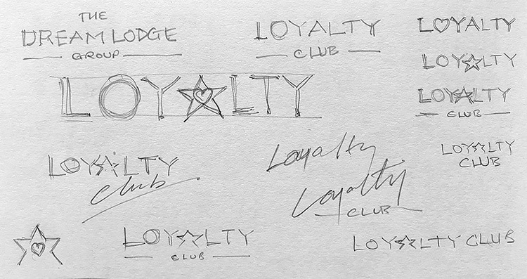 Development sketches for Dream Lodge Loyalty log design