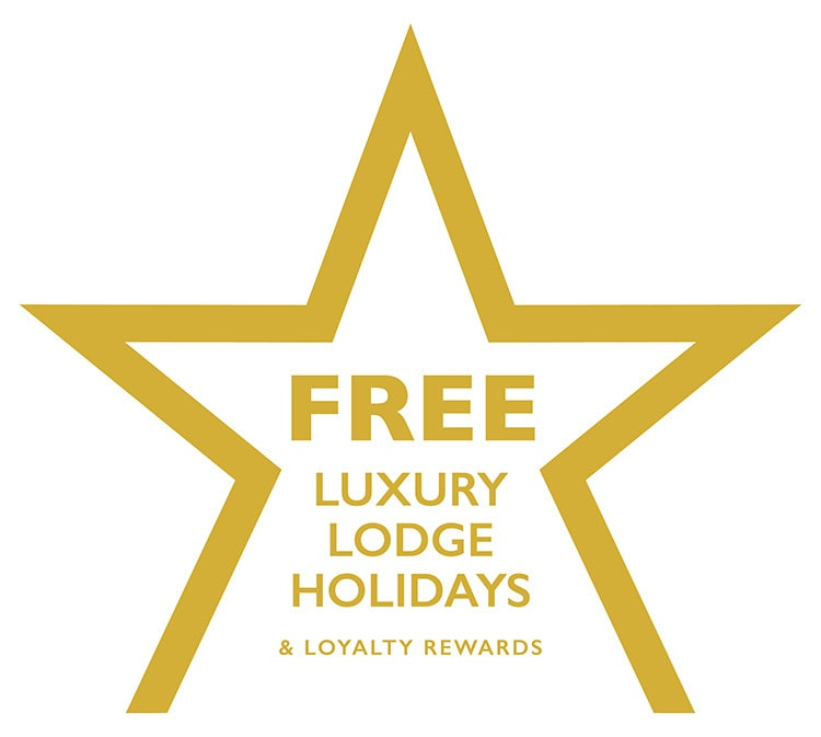 Black and white Free Luxury Lodge holidays in a star outline promotion design