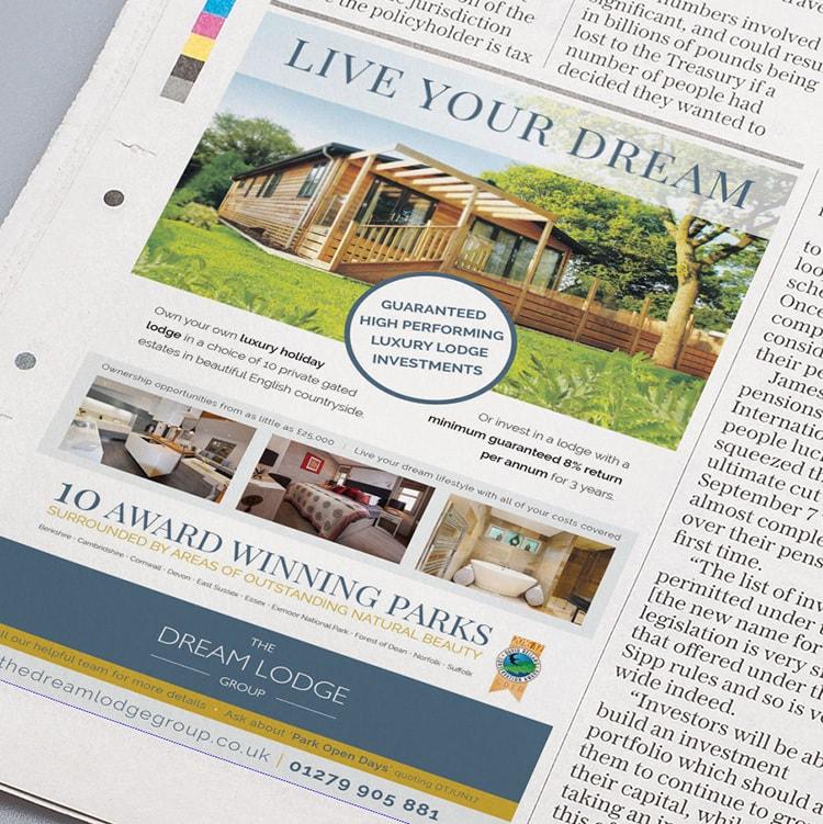 Newspaper press advertising design for Dream Lodge Loyalty