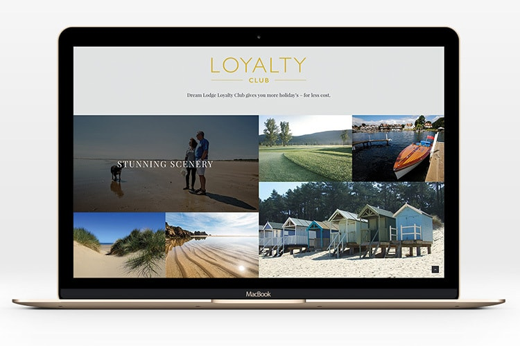 Laptops showing homepage website design page for Dream Lodge Loyalty