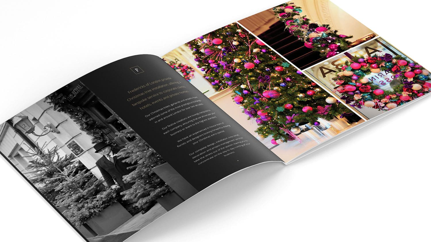 Christmas brochure print design with decorated Christmas tree for Fredericks of London