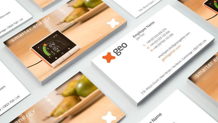 GEO front and back branded business cards stacked