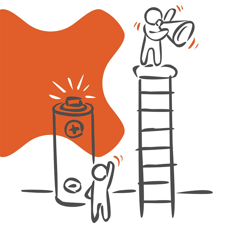 Illustration of a man on top of the ladder with megaphone and person waving in front of GEO logo