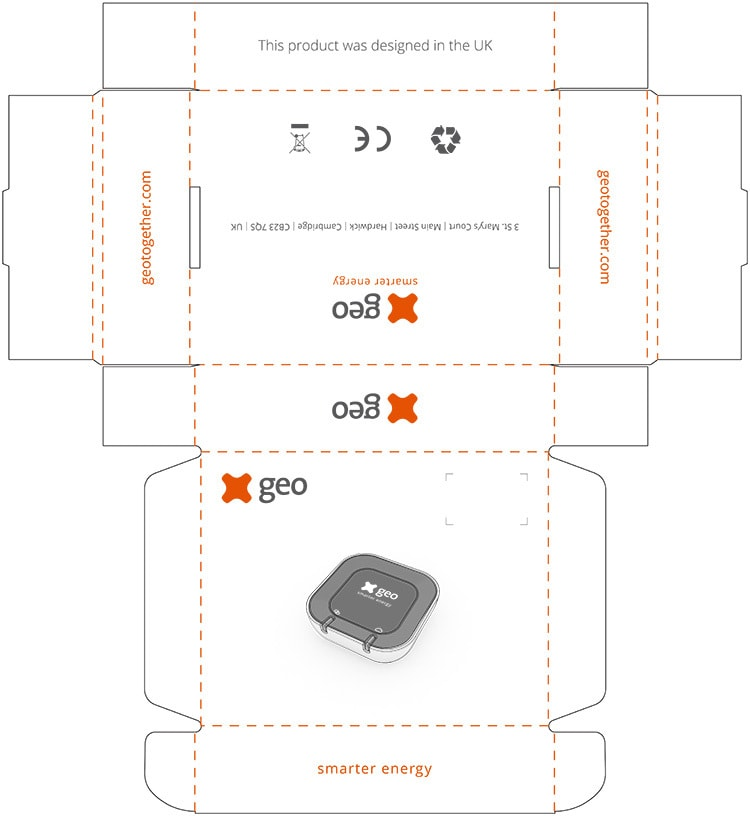 Minihub packaging design net for GEO cosy
