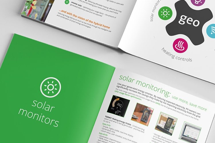 Close up of brochure spread stacked above each other for GEO Hub