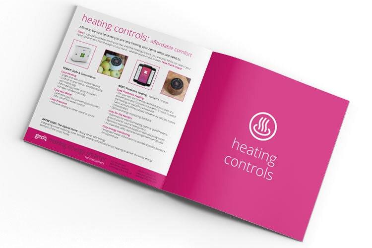 Heating controls section GEO cosy brochure design spread