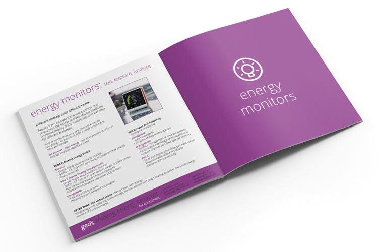 Energy monitors section GEO cosy brochure design spread