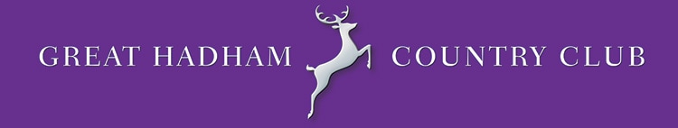 Great Hadham Country Club landscape logo design with purple background