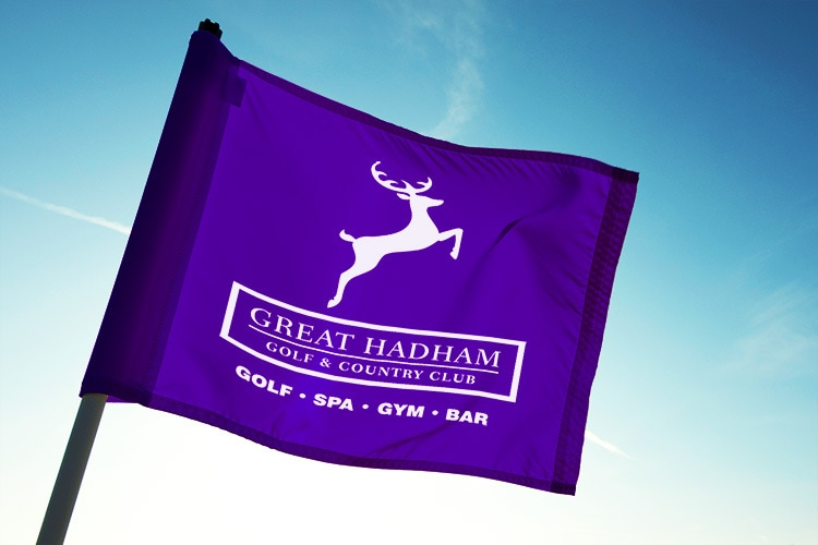 Great Hadham Country Club logo with strapline on a purple flag