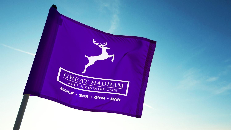 Great Hadham Country Club portrait logo design on a purple flag