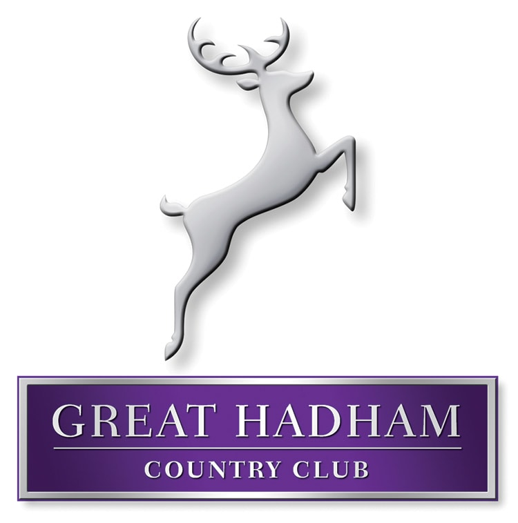 3D Great Hadham Country Club portrait logo design with shadow and silver effect