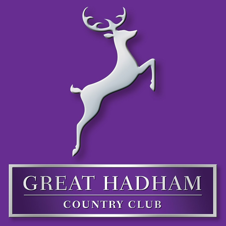 3D Great Hadham Country Club portrait logo design with shadow and silver effect with purple background