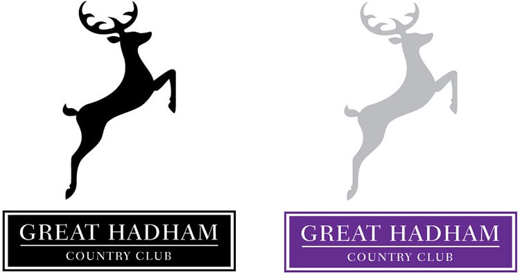 Great Hadham Country Club portrait logo design flat Black and white with coloured version
