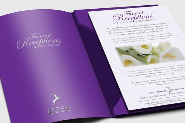 Funeral Brochure print design for Great Hadham Country Club