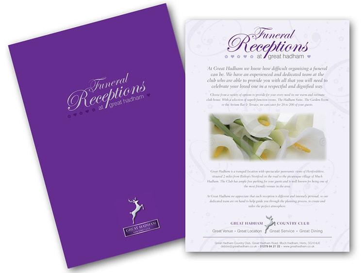 Funeral Brochure print design flat artwork for Great Hadham Country Club